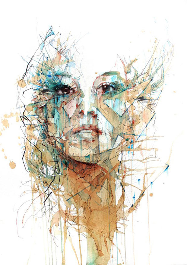 carne 2 Retratos com Chá, Vodka, Whisky e Tinta   Carne Griffiths