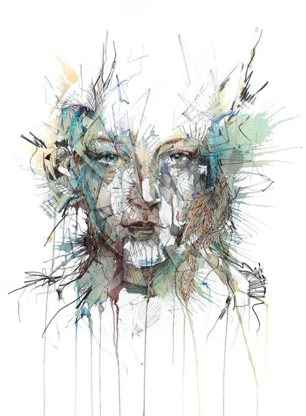 carne 3 Retratos com Chá, Vodka, Whisky e Tinta   Carne Griffiths
