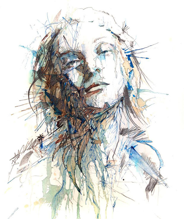 carne 4 Retratos com Chá, Vodka, Whisky e Tinta   Carne Griffiths