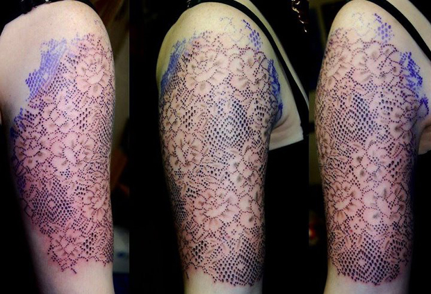 dot work lace for ella by dotworkdamian d4whobi #tattoofriday   Lace Tattoo/Renda