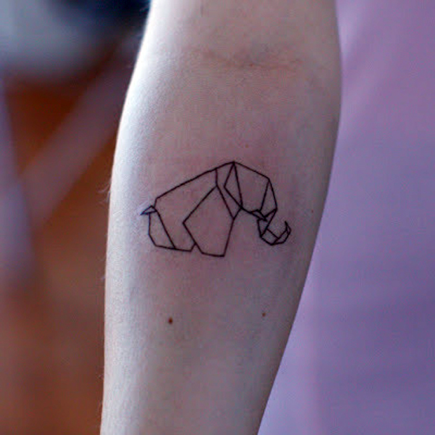 elefante origami re large #tattoofriday   Origami Tattoos