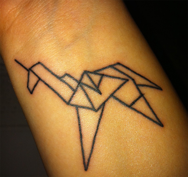 followthecolours origamitattoo 1 #tattoofriday   Origami Tattoos