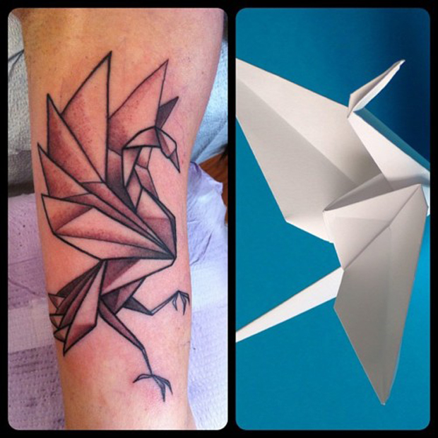 tumblr m1v3ksv6cJ1rt170no1 500 #tattoofriday   Origami Tattoos