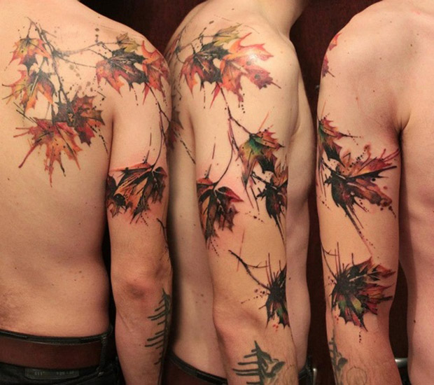 followthecolours leaf tattoo 08 #tattoofriday   Folhas/Leaf Tattoos