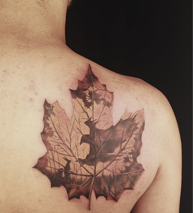 followthecolours leaf tattoo 20 #tattoofriday   Folhas/Leaf Tattoos