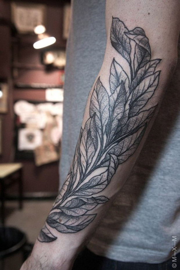 followthecolours leaf tattoo 27 #tattoofriday   Folhas/Leaf Tattoos