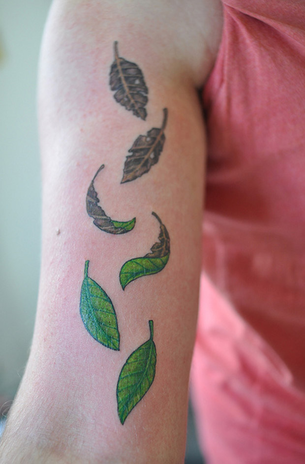 followthecolours leaf tattoo 38 #tattoofriday   Folhas/Leaf Tattoos