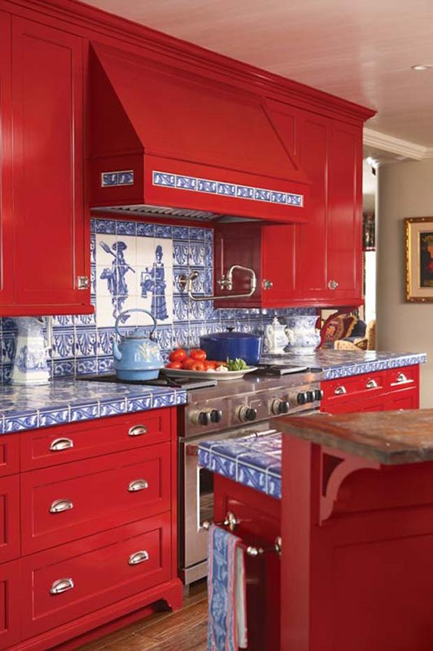 Para inspirar cozinhas coloridas mais cor por favor for Red and blue kitchen ideas