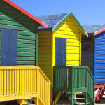 As cores de Muizenberg Beach em Cape Town, África do Sul