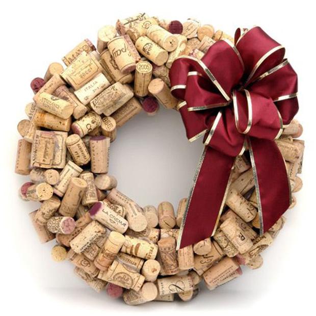 decoração diy natal guirlanda de rolha