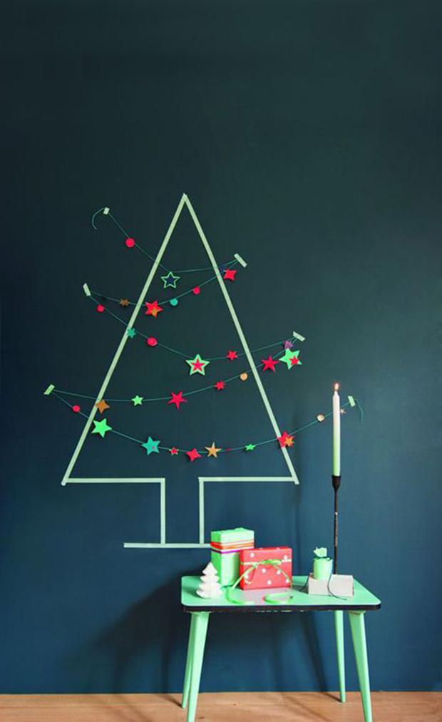 decoração diy natal washi tape árvore