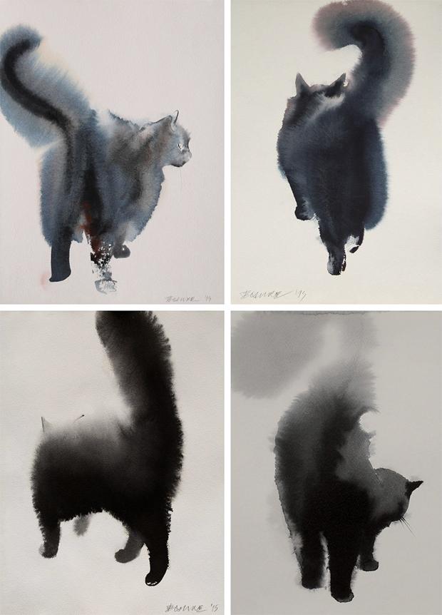 Gato preto de aquarela n o tem medo de gua fria mat ria inc gnita - Pintura instinto ...
