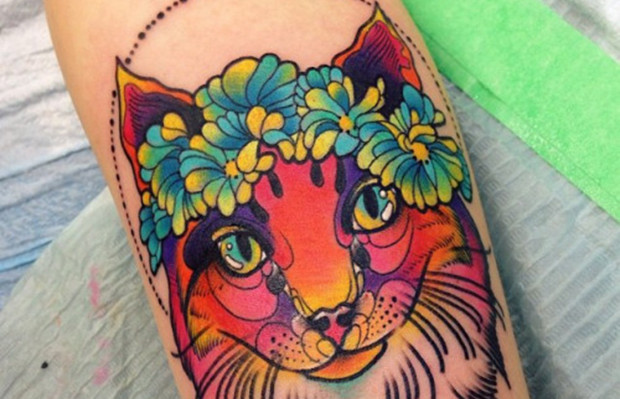 follow the colours neotradicional tattoo friday Katie Shocrylas gato havaiano