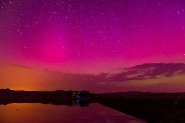 Aurora Borealis seen over the Brecon Beacons, Wales, Britain - 1