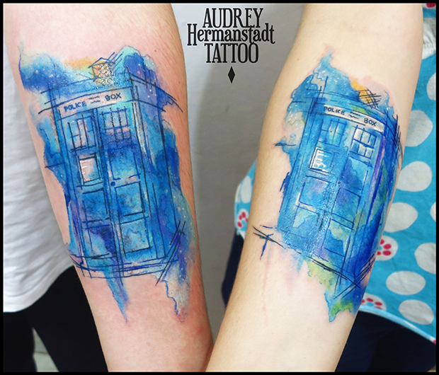 tattoo aquarela Audrey Hermanstadt London is calling