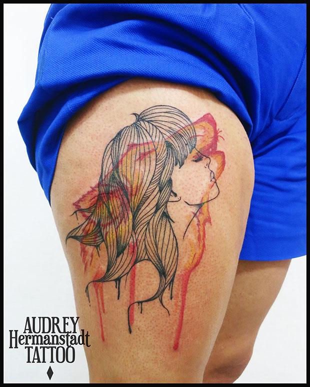 tattoo aquarela Audrey Hermanstadt woman wolf