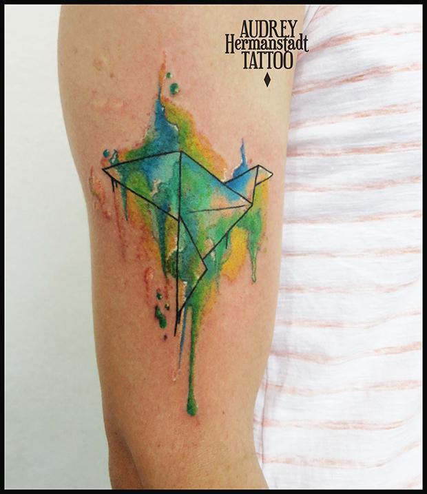 tattoo aquarela Audrey Hermanstadt tsuru