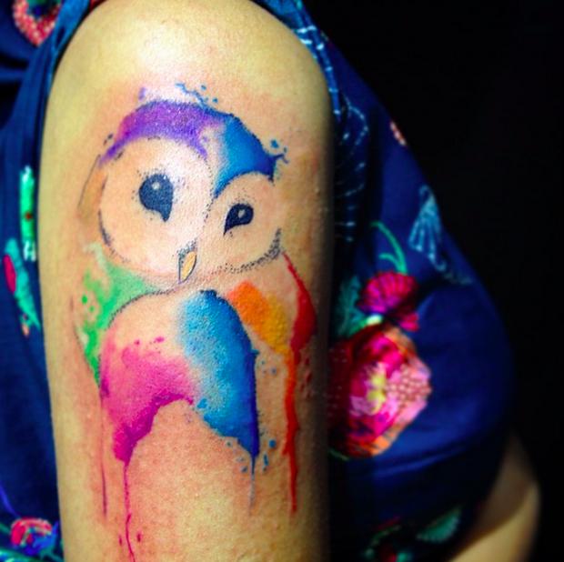 follow the colours tattoo friday LCjunior aquarela coruja