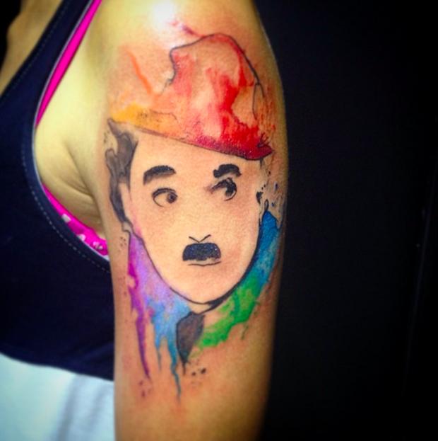 follow the colours tattoo friday LCjunior aquarela charles chaplin