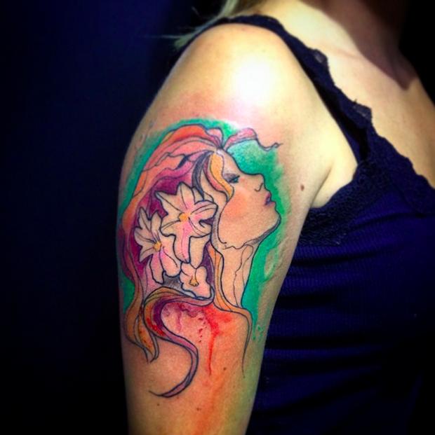 follow the colours tattoo friday LCjunior aquarela mulher