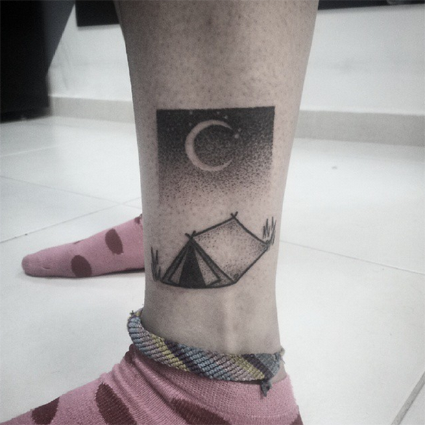 hand poked tattoo Trigs Covil camping