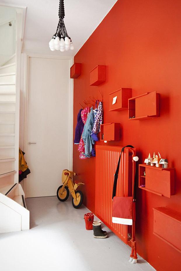 vermelho decoração sala entrada parede