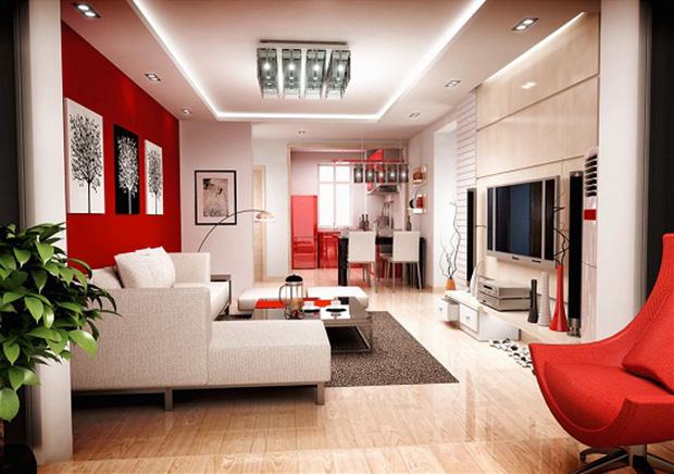 vermelho decoração sala