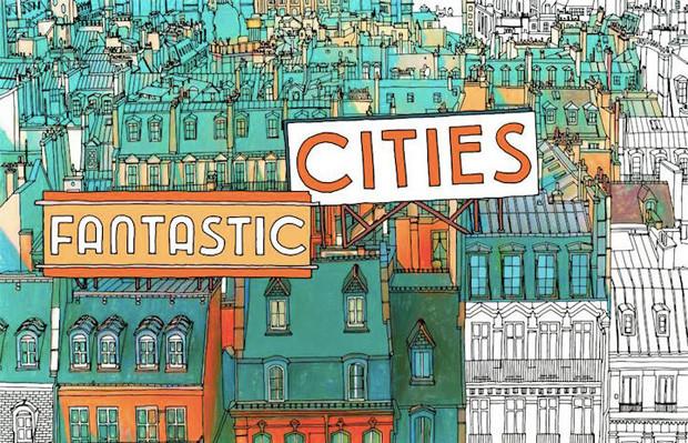 Fantastic Cities livro de colorir adultos