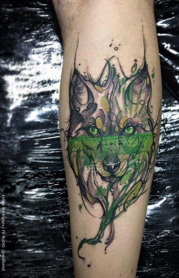 Watercolor tattoo Felipe Rodrigues lobo