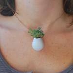 Planta de vestir! Designer cria acessórios que carregam jardins em miniatura