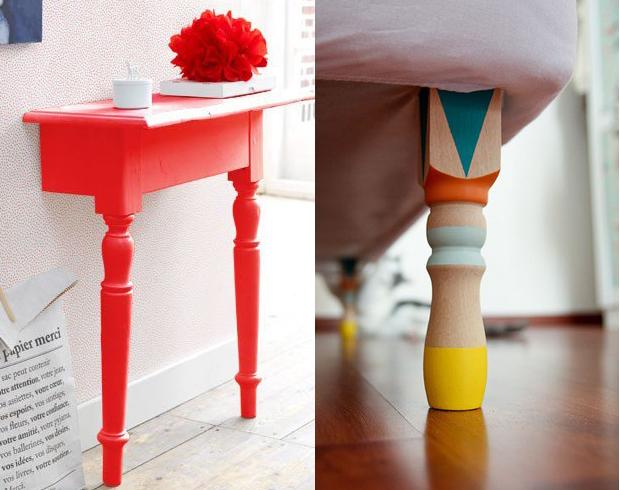 decoração Dip Dye mesa pé de cama
