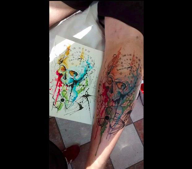 tattoo aquarela watercolor jorge Mitsunaga caveira