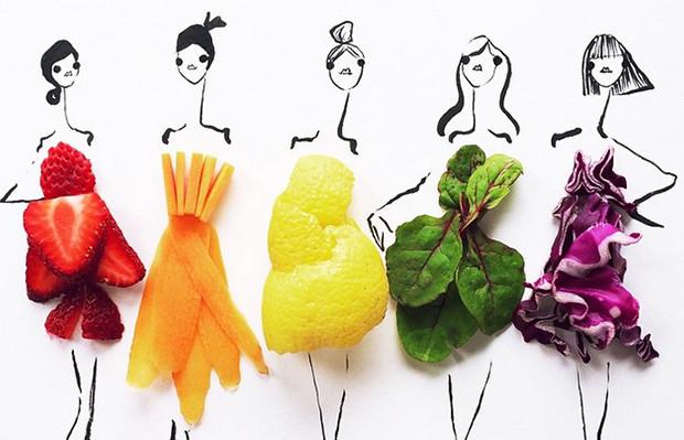 Gretchen Roehrs ilustrações moda alimentos cores