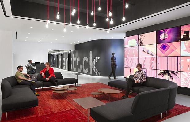 Escritório Shutterstock nyc headquarters recepção