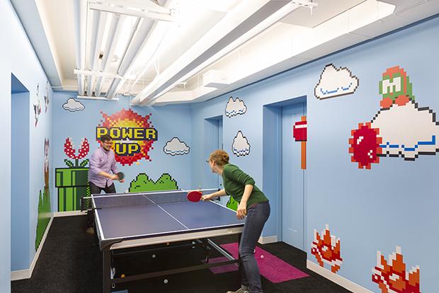 Escritório Shutterstock nyc headquarters sala de jogos