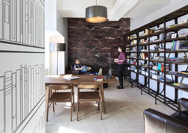 Escritório Shutterstock nyc headquarters biblioteca