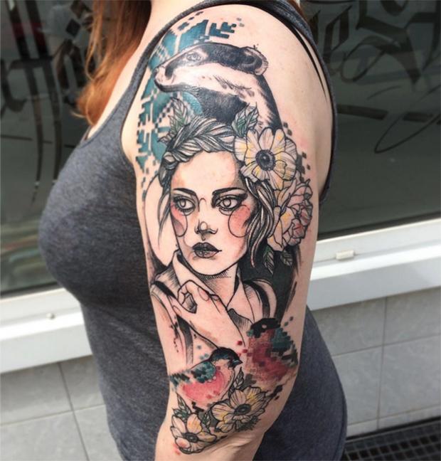 Tattoo Woman Flower Head: Os Belos Retratos De Mulheres Esboçados Na Pele Por Anki