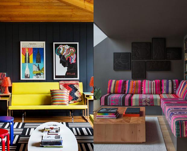 casa mais colorida sofá almofadas tapete