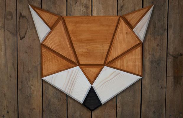 taxidermia falsa animais geométricos madeira poligon raposa