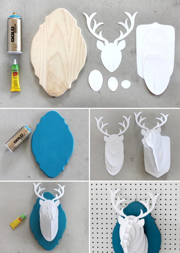Artesanato Tecido ~ DIY Passo a passo para fazer uma cabeça de alce de papel incrível para decoraç u00e3o Follow the