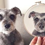 Animais de estimação viram fantásticos retratos realistas bordados pela artista Dani Ives