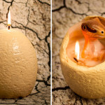 Vela em formato de ovo derrete lentamente e revela um adorável filhote de dinossauro