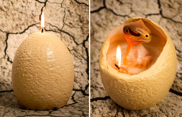 vela dinossauro derrete hatching dinosaur candle firebox