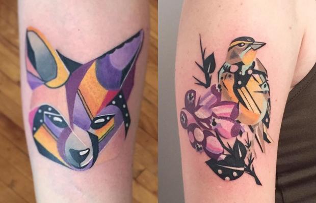 tatuagens coloridas geométricas Karl Marks