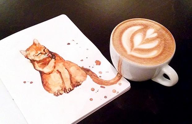aquarelas gato café
