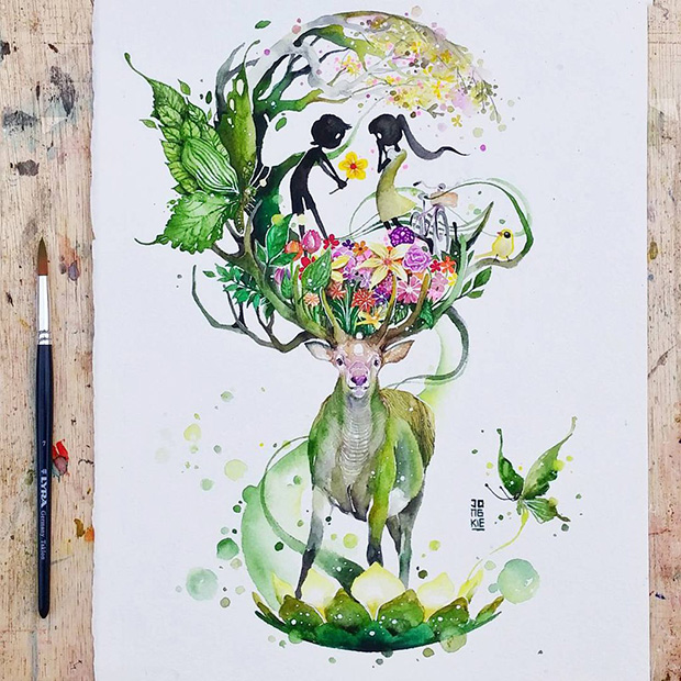 ilustrações em aquarelas Luqman Reza Jongkie