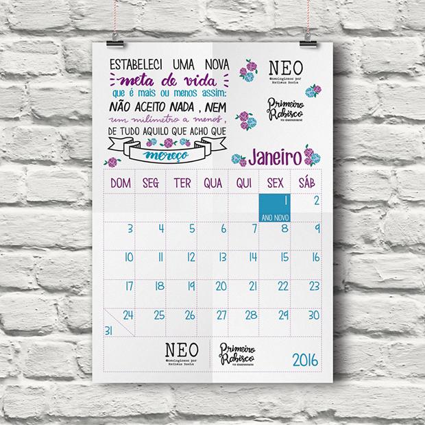 calendário 2016 para baixar primeiro rabisco e artistas da internet