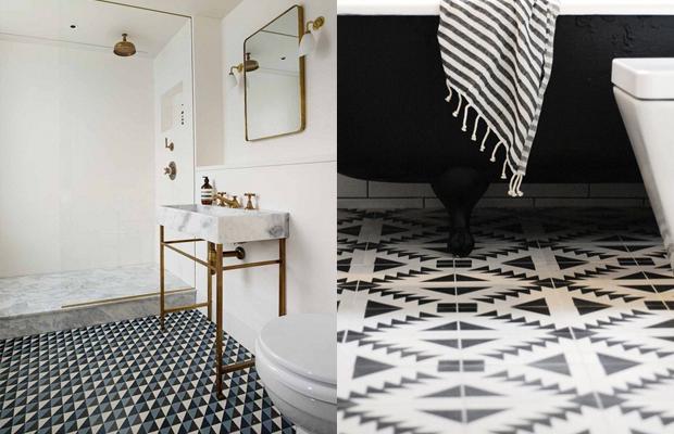 tendência de decoração em 2016 banheiros azulejos geométricos