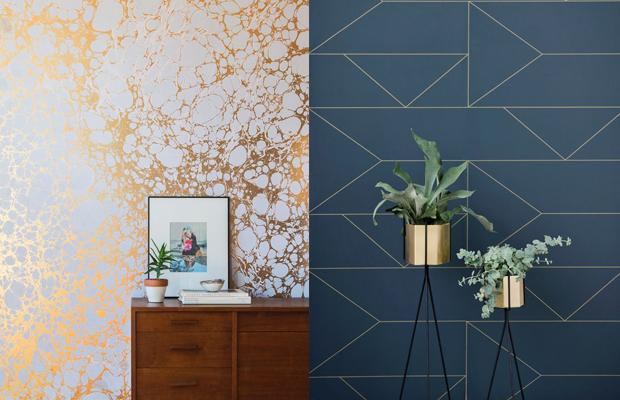 tendência de decoração em 2016 papel de parede metalizado