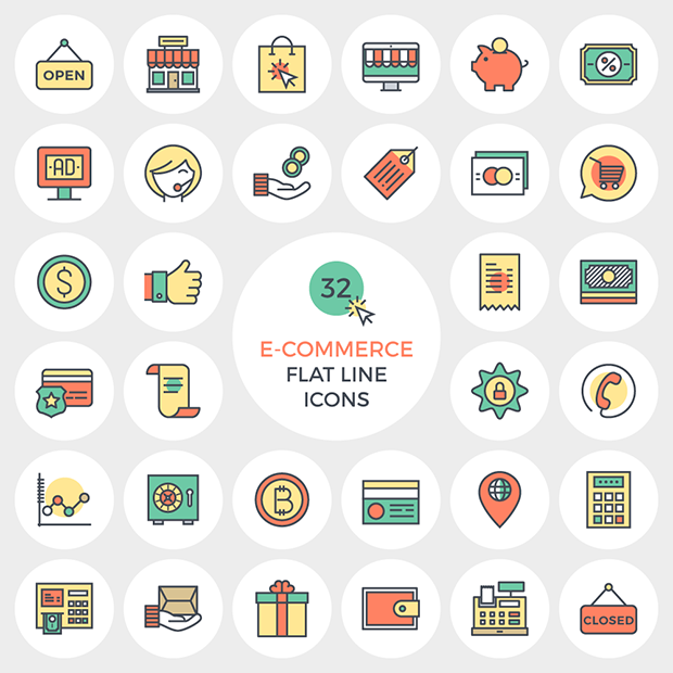 links legais da semana e-commerce flat line icons vector4free